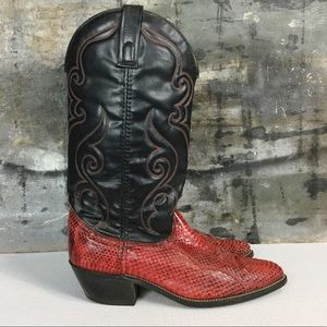 Exotic Red Python Black Leather Western Boots, 9D